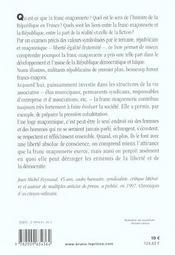 République et franc-maçonnerie - 4ème de couverture - Format classique