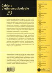 Cahiers D'Ethnomusicologie T.29 ; Ethnomusicologie Appliquée - 4ème de couverture - Format classique