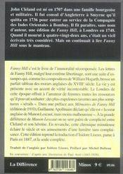 Mémoires de fanny hill, femme de plaisir - 4ème de couverture - Format classique