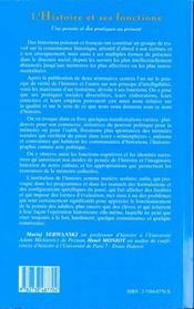 L'Histoire Et Ses Fonctions ; Une Pensee Et Des Pratiques Au Present - 4ème de couverture - Format classique