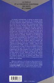 La Famille Et La Convention Europeenne Des Droits De L'Homme - 4ème de couverture - Format classique