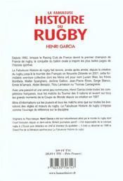 Fabuleuse Histoire Du Rugby (La) - 4ème de couverture - Format classique