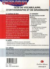 Qcm de vocabulaire, d'orthographe et de grammaire - 4ème de couverture - Format classique