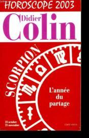 Scorpion Horoscope 2003 - Couverture - Format classique