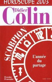 Scorpion Horoscope 2003 - Intérieur - Format classique