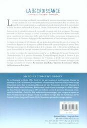 La décroissance ; entropie, écologie, économie - 4ème de couverture - Format classique