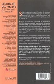 Gestion Rh Des Pme/Pmi. Guide Pratique Du Dirigeant. Recrutement. Communication Et Motivation. Manag - 4ème de couverture - Format classique