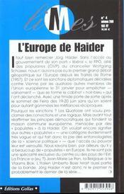 L'Europe Contre Haider - 4ème de couverture - Format classique