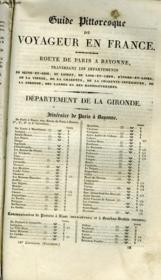 Guide Pittoresque Du Voyageur En France - Departement De La Gironde - Couverture - Format classique