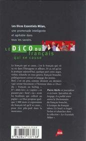 Le dico du francais qui se cause - 4ème de couverture - Format classique