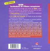 Qcm Institutions De L'Union Europeenne, 7eme Edition - 4ème de couverture - Format classique