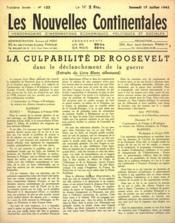Nouvelles Continentales (Les) N°122 du 17/07/1943 - Couverture - Format classique