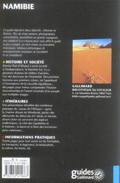 Namibie - 4ème de couverture - Format classique