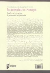 Frontieres Du Politique - 4ème de couverture - Format classique