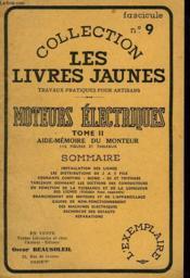Moteurs Electriques. Tome Ii. Aide-Memoire Du Moniteur - Couverture - Format classique