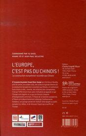 L'europe, c'est pas du chinois ! la construction européenne racontée aux chinois - 4ème de couverture - Format classique