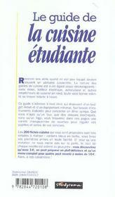 Le guide de la cuisine etudiante - 4ème de couverture - Format classique