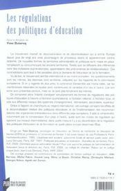 Regulations Des Politiques D Education - 4ème de couverture - Format classique