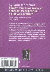 Projet d'une loi portant sur la défense d'apprendre à lire aux femmes - 4ème de couverture - Format classique