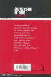 Souviens-toi de Titus - 4ème de couverture - Format classique