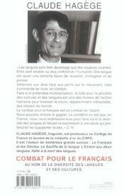 Combat Pour Le Francais ; Au Nom De La Diversite Des Langues Et Des Cultures - 4ème de couverture - Format classique