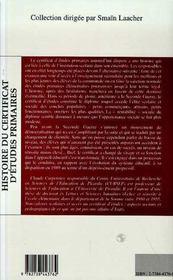 Histoire Du Certificat D'Etudes Primaires - 4ème de couverture - Format classique