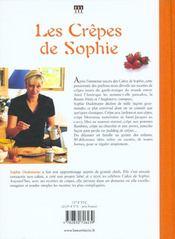 Les crêpes de Sophie - 4ème de couverture - Format classique