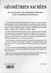 Géométries sacrées ; du corps humain, des phénomènes telluriques et de l'architecture des bâtisseurs - 4ème de couverture - Format classique
