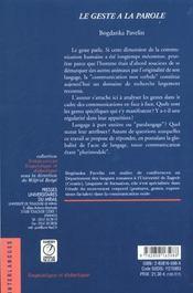 Le Geste A La Parole - 4ème de couverture - Format classique