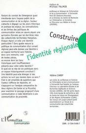 Construire L'Identite Regionale ; La Communication En Question - 4ème de couverture - Format classique