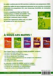 Cahier D'Exercices Ce1 - A Nous Les Maths ! - 4ème de couverture - Format classique