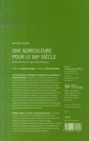 Une agriculture pour le xxi siècle ; manifeste pour une agronomie biologique - 4ème de couverture - Format classique
