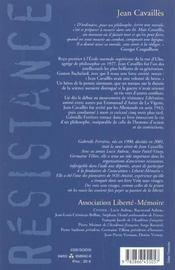 Jean Cavailles. Un Philosophe Dans La Guerre 1903-1944 ; Nouvelle Edition - 4ème de couverture - Format classique
