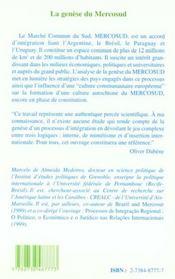 La Genese Du Mercosud - 4ème de couverture - Format classique