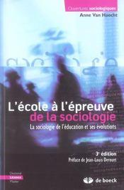 L'école à l'épreuve de la sociologie - Intérieur - Format classique