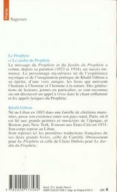 Prophete. suivi de : le jardin du prophete (le) - 4ème de couverture - Format classique