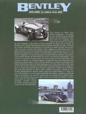 Bentley 1931-1965. la relève d'un défi - 4ème de couverture - Format classique