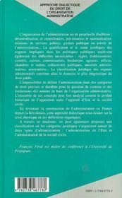 Approche Dialectique Du Droit De L'Organisation Administrative ; L'Appareil D'Etat Face A La Societe Civile - 4ème de couverture - Format classique