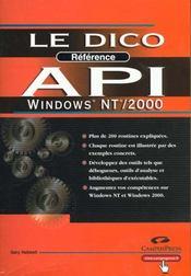 Api Win Nt ; 2000 Dico Reference - Intérieur - Format classique