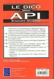 Api Win Nt ; 2000 Dico Reference - 4ème de couverture - Format classique