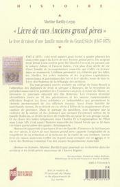 Livre De Mes Anciens Grands Peres - 4ème de couverture - Format classique