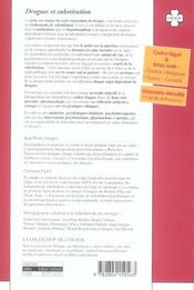 Drogues et substitution ; traitements et prise en charge du sujet - 4ème de couverture - Format classique