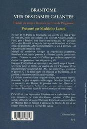 Vies des dames galantes - 4ème de couverture - Format classique
