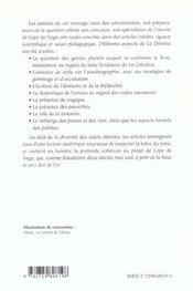 La Dorotea Lope De Vega Capes/Agregation Espagnol - 4ème de couverture - Format classique