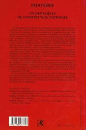 Indonesie Un Demi-Siecle De Construction Nationale - 4ème de couverture - Format classique