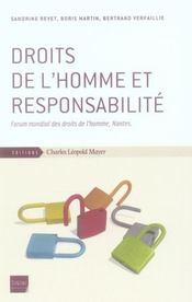Droits de l'homme et responsabilité - Intérieur - Format classique
