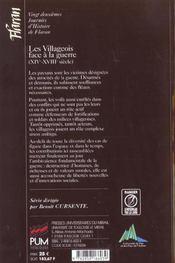 Les Villageois Face A La Guerre - 4ème de couverture - Format classique