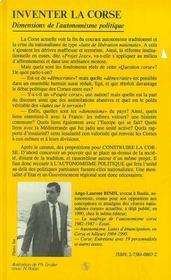 Inventer La Corse Dimensions De L'Autonomisme - 4ème de couverture - Format classique