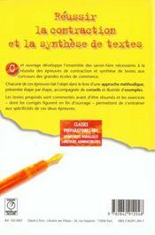 Contraction et synthese de texte prepa hec - 4ème de couverture - Format classique