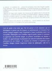 Le vocabulaire de Condillac - 4ème de couverture - Format classique